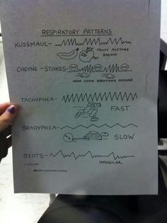Good analogy of Respiratory patterns. Nursing Tips, Nursing Notes, Nursing Exam, Ems Humor, Firefighter Emt, Emergency Medicine, Medical Information, Nclex, Nurse Life