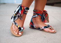 Fabric Gladiator Sandals   33 DIY Shoe Hacks