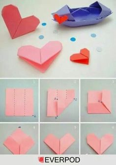 heart: I love origami. What a cute way to tie together a gift. :)origami heart: I love origami. What a cute way to tie together a gift. Origami Design, Diy Origami, Origami Simple, Cute Origami, Paper Crafts Origami, Useful Origami, Origami Stars, Origami Tutorial, Origami Flowers