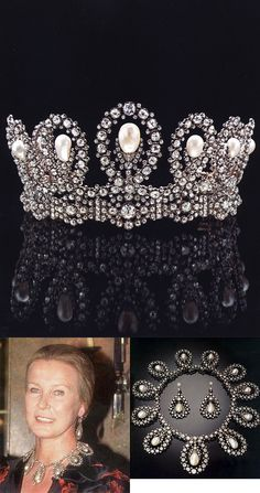 Pearl and diamond demi-parure owned by Princess Maria Gabriella of Savoy. The tiara can be worn as a necklace. Via http://www.sanremonews.it
