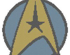 star trek. Cross Stitch Patterns   Counted Cross Stitch Pattern, Star Trek Starfleet Insignia, Instant ...