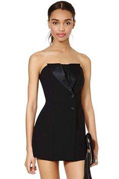 With extended satin collar.  Little black romper