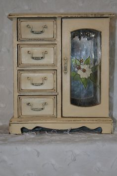 Yellow Shabby Chic Jewelry Box / Wooden Jewelry Armoire with Tan Velvet Lining/