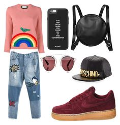 """""""Untitled #517"""" by giselaturca on Polyvore featuring Gucci, NIKE, Monki, Moschino, Christian Dior, women's clothing, women, female, woman and misses"""