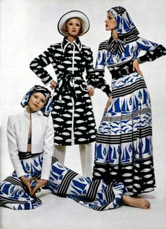 L'Officiel magazine 1972 casual day wear 70s vintage fashion style dress button front models magazine print ad maxi gown pants jacket coat novelty print boats blue black
