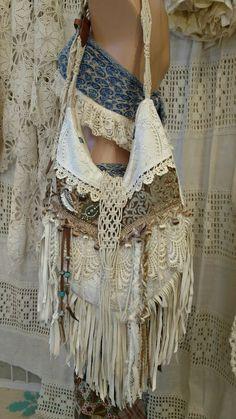Handmade Vintage Lace Shoulder Bag Faux Leather Fringe Hippie Boho Purse tmyers…