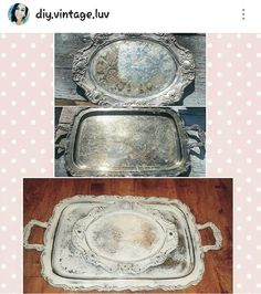 Chalk painted silver platters to shabby chic serving trays .. follow IG @diy.vintage.luv