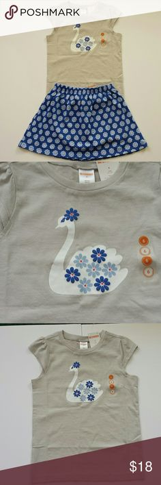 """NWT - Gymboree Girls Size 6 Matching Set Perfect for summer fun!! Cute """"swan"""" on the 100% cotton shirt comes with pretty matching skort! Also, 100% cotton, both made by Gymboree, machine washable, girls size 6! My daughter loves this and similar sets from Gymboree...great for playing in the sun, all activities are easy with the skort, while maintaining the girly - girl look! :) Gymboree Matching Sets"""