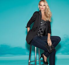 dress up denim with a sequined bustier and tux jacket.  from $94 #whbm #celebratebeautifully #FEELBEAUTIFUL