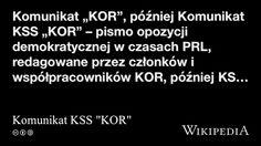 """""""Komunikat KSS """"KOR"""""""" på @Wikipedia: Workers Union"""