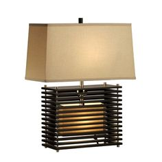 This wide Asian design features rectangles space apart which show the lighted base through.
