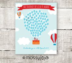 Thumbprint Guestbook Hot Air Balloon Unique Wedding by MossyJojo