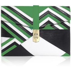SPORTS LUXE ENVELOPE CLUTCH GREEN/BLACK/WHITE LEATHER APPLIQUE