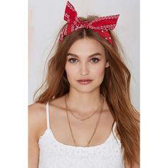 Lucy Bandana Headband ($18) ❤ liked on Polyvore featuring accessories, hair accessories, hair, head wrap headband, red bandana, bow headwrap, wire headband and hair band headband