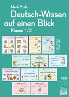 """Merk-Poster - Deutsch-Wissen auf einen Blick - Klasse 1/2 ++ #Organisationsmaterial für den #Deutschunterricht an Grundschulen ++ Ob Wortarten, Zeitformen oder wörtliche Rede – diese 12 übersichtlichen und dekorativen Poster geben blitzschnell Antworten auf die häufigsten Fragen – und lassen sich flexibel einsetzen. Und wenn das nächste Mal wieder ein Kind jeden Satzanfang klein schreibt, sagen Sie nur noch: """"Schau aufs Merk-Poster!"""""""