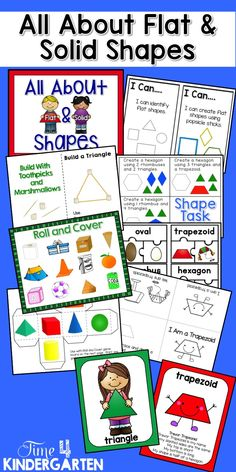 Everything you need to teach All About Flat & Solid Shapes is in this huge 145 page pack.  posters, games, worksheets, sorting shapes, building shapes, I Have Who Has, Go Fish, puzzles and emergent readers.