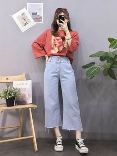 koreanische mode outfits 8286 Source by ayetrkolu Red Fashion Outfits, Mode Outfits, Look Fashion, Trendy Fashion, Kids Fashion, Casual Outfits, Girl Outfits, Fashion Shoes, Fashion Clothes