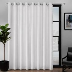 Add sophistication to your decor with the Exclusive Home Curtains Loha Patio Grommet top curtain panel. The solid colored linen look curtain panel has a soft woven construction and offers a simple way Patio Curtains, Home Curtains, Room Darkening Curtains, Grommet Curtains, Window Curtains, Large Curtains, Farmhouse Curtains, Curtains Living, Sheer Curtain Panels