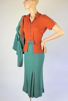 Classic Vintage 1930s Three-Piece Boucle Knit Suit