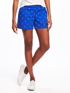 "Mid-Rise Printed Everyday Khaki Shorts for Women (5"")"
