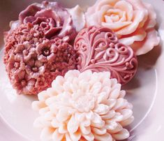 SOAP, A Light Dusting of Salmon and Dusty Rose, Chrysanthemum, Roses, and Hearts, Scented in Rose, Vegetable Based, Handmade