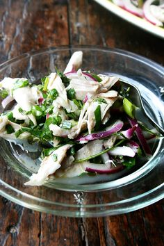 chicken salad with olive oil and herbs