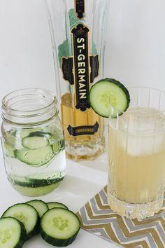 Cucumber Elderflower Cocktails with Homemade Infused Cucumber Vodka - Bites of Bri
