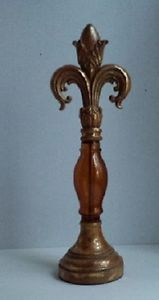 14.99 love this for a shelf  Fleur-de-lis-Finial-French-Amber-Tuscan-Decorative-Glass-Metal-Decor-Gold-Flake