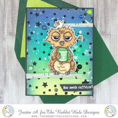 This project uses the Caffeinated- Owl and the Circles and Stars stencil by The Rabbit Hole Designs! Be sure to follow me on Instagram @justanotebyjustin for more crafty inspiration!