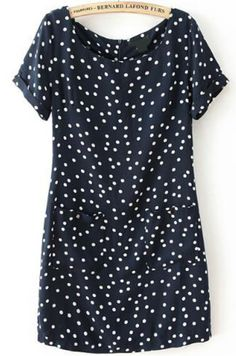 16.67 Black Short Sleeve Polka Dot Pockets Dress