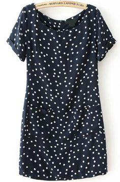16.67 Black Short Sleeve Polka Dot Pockets Dress