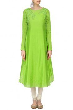 Sloh Designs Green Floral Dori Embroidered Asymmetric Kurta #happyshopping #shopnow #ppus