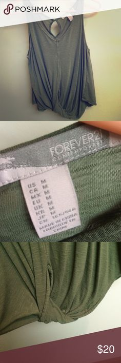 Green forever21 key hole top Lightly worn army green top with key hole back and tucked front Forever 21 Tops Blouses