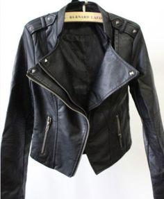 Fashion Black Slim PU Leather Rivet Jacket from unusual