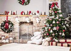 7x5ft(210x150cm) Weihnachtsbaum Hintergrund Fotografie weiß Brick Kamin für Neugeborene Weihnachten Foto Studio Hintergrund