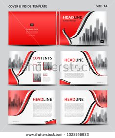 Red Cover design and inside template for magazine, ads, presentation, annual report, book, leaflet, poster, catalog, printing media, newsletter, business brochure flyer, Horizontal layout vector. A4