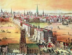 An engraving by Claes Visscher showing Old London Bridge in 1616 from Southwark