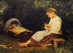 """""""Knitting Girl Watching the Toddler in a Craddle"""" by Albert Anker, 1885"""