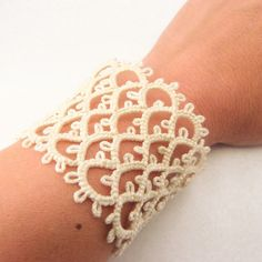 Bridal ivory lace cuff bracelet by Decoromana on Etsy, $49.90
