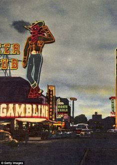 Neon Signs Outside Pioneer Club in The Howdy Podner of Las Vegas greets the visitor to the famous Pioneer Club complete with gaming Las Vegas Photos, Las Vegas Trip, Las Vegas Nevada, Vegas Lights, Really Cool Photos, Vintage Neon Signs, Las Vegas Weddings, Sin City, Rare Photos