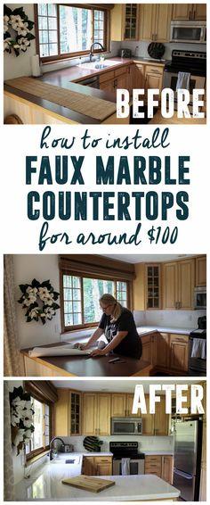 DIY Faux Marble Countertops - Bright Green Door