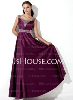 A-Line/Princess Floor-Length Charmeuse Evening Dress With Ruffle Sequins (017013101) - JJsHouse