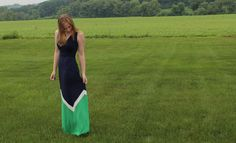 I like the cut, color, and color-blockiing style of this maxi dress. Plus, the I like the width of the straps.