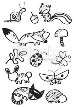 Creature Drawing woodlands creature black and white Royalty Free Stock Vector Art Illustration - woodlands creature black and white Doodle Drawings, Easy Drawings, Animal Drawings, Woodland Creatures, Woodland Animals, Ecole Art, Drawing Projects, Animals Images, Free Vector Art