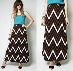 Vintage 70s CHEVRON stripe ZIGZAG high waist MAXI goddess BOHO hippie Skirt S M
