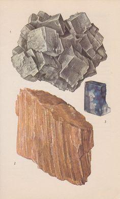 Vintage Print Rocks and Minerals Rock Salts by PineandMain
