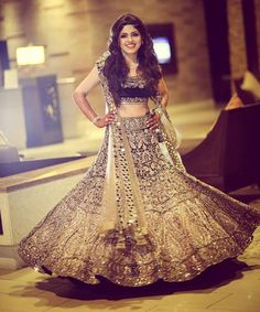 Manish Malhotra Blue bridal lehenga choli 2016 - 2900$ USD- http://www.gujaratidresses.com/manish-malhotra-blue-bridal-lehenga-choli/