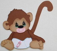 Baby Scrapbook, Scrapbook Cards, Baby Cards, Kids Cards, Monkey Girl, Craft Punches, Paper Piecing Patterns, Scrapbook Embellishments, Punch Art