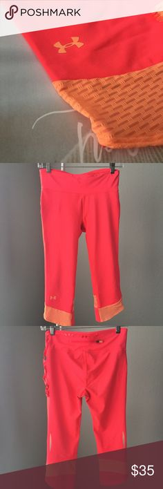 U N D ER A R M OUR c o m p re ss ion capri Under Armour Fly-By Compression Capri  Excellent  worn once condition - pls use photos as reference no issues to note  color: Neo Pulse/Afterglow/Reflective size: SM (US 4-6) inseam: 17 Under Armour Pants Leggings