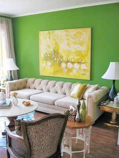 love the walls!  painting! and couch!  green living room